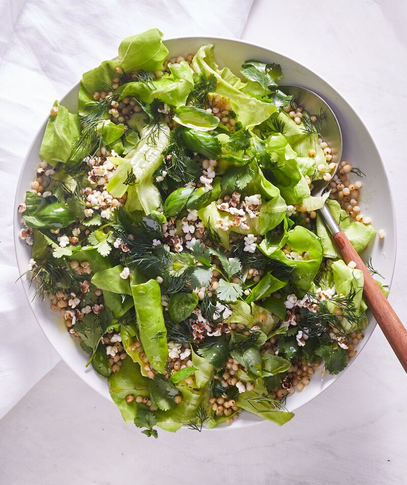 Herb and Grain Salad with Basil Oil and Popped Sorghum