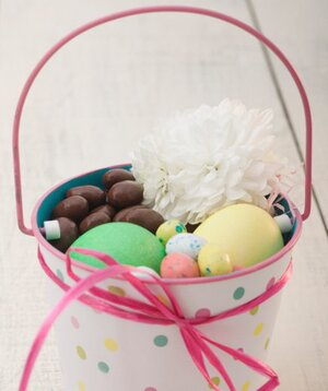 How to create the ultimate easter basket real simple easter eggs and chocolate in a pot negle Choice Image