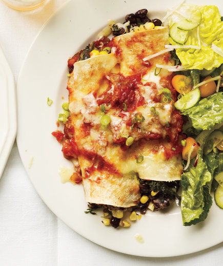 Slow-Cooker Bean and Spinach Enchiladas