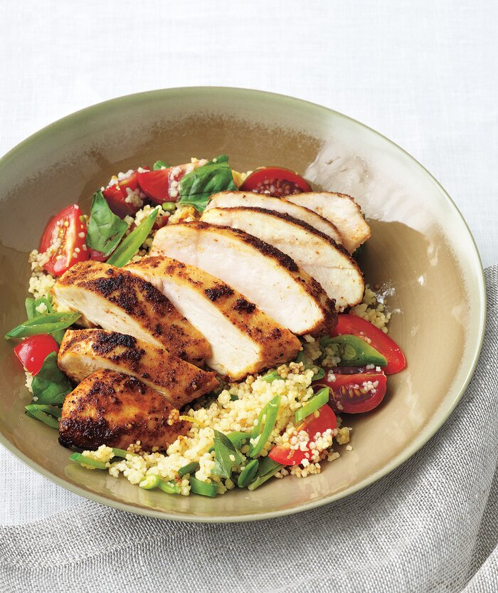 Coucous Salad Spiced chicken with couscous salad recipe real simple spiced chicken with couscous salad sisterspd