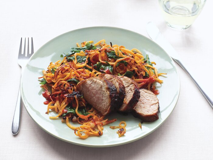 18 easy low calorie dinner recipes real simple chili glazed pork with sweet potato hash forumfinder Image collections