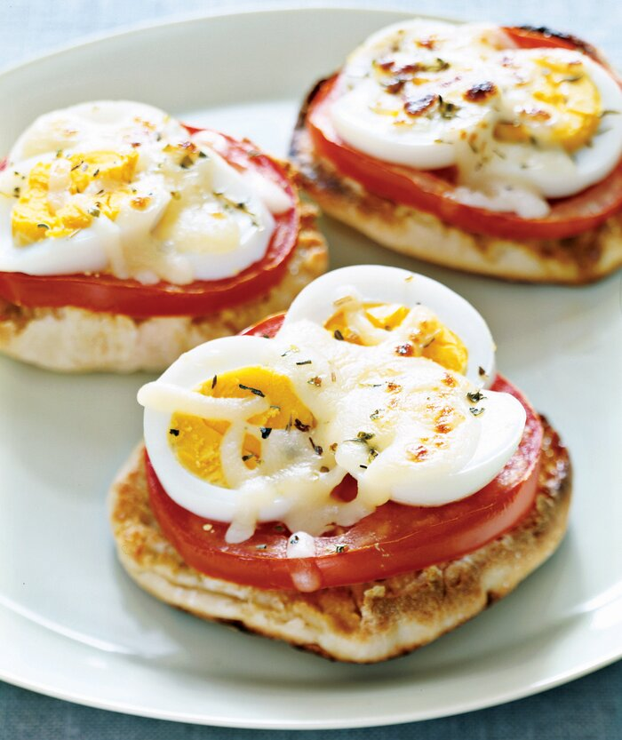 Hard boiled egg recipe ideas real simple english muffin egg pizzas forumfinder Gallery