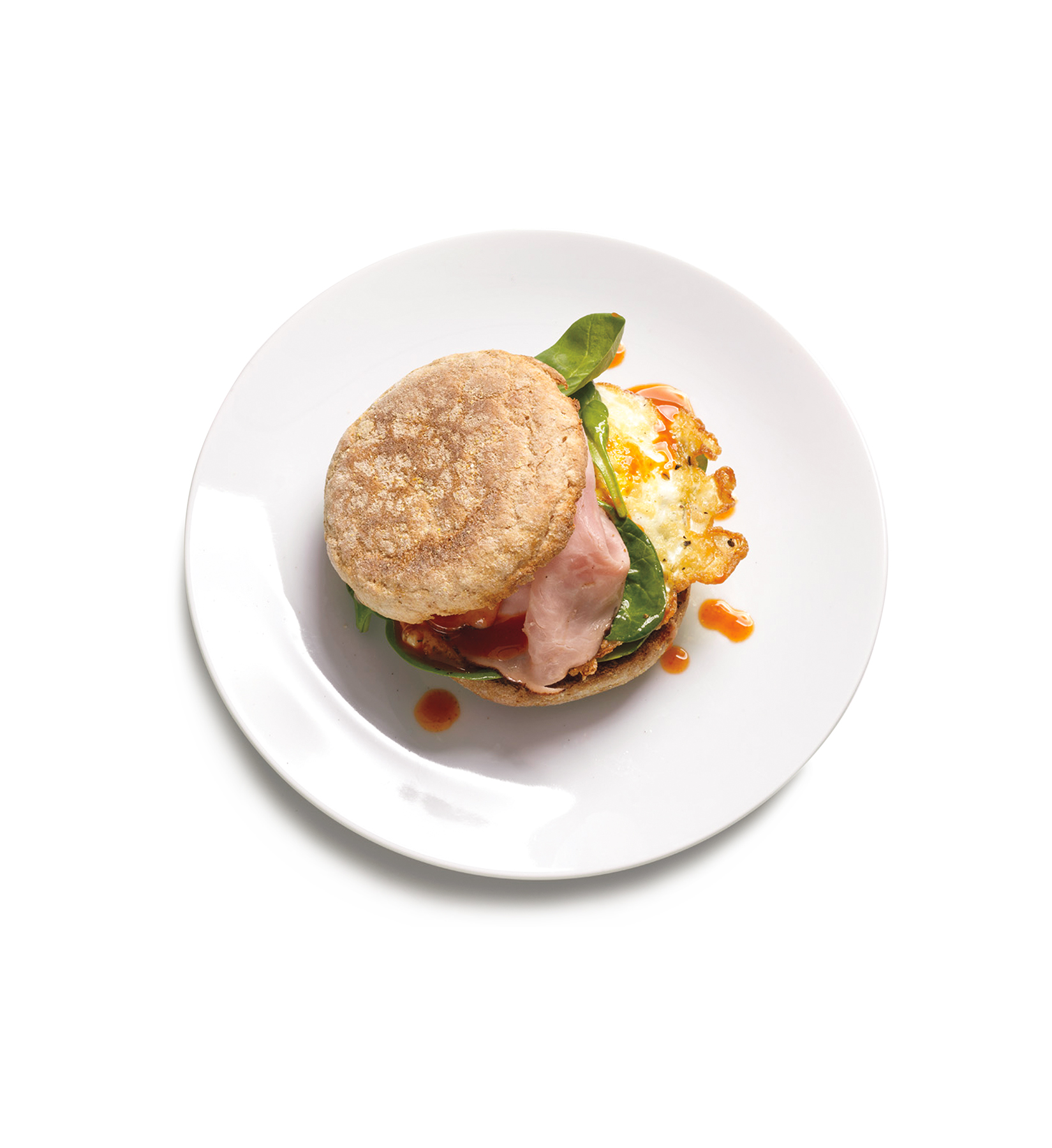 Egg Sandwich With Ham and Spinach