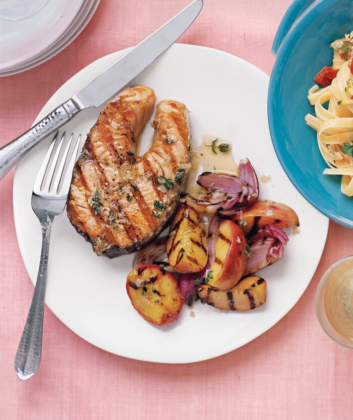 37 easy salmon recipes real simple gingery salmon recipe with peaches forumfinder Gallery