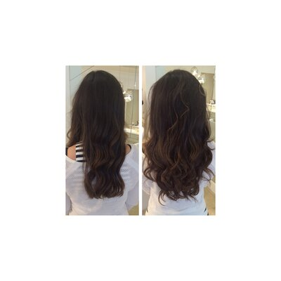 Heather Muir, before and after hair extensions