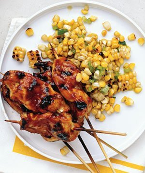 Summer chicken recipes real simple honey chicken skewers with grilled corn salad forumfinder Images