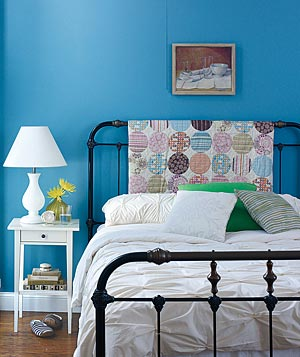 Bed with quilt headboard