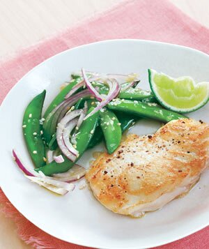 12 easy halibut recipes real simple halibut with sugar snap pea salad forumfinder Images