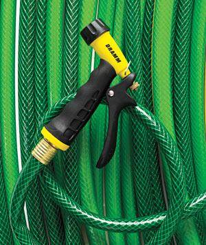 green gardening hose with yellow spray nozzle - Best Garden Hose Nozzle