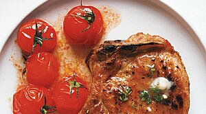 30 minute meals real simple grilled pork chops with cherry tomatoes and garlic butter sisterspd
