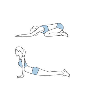 Illustration of tiger push-up exercise