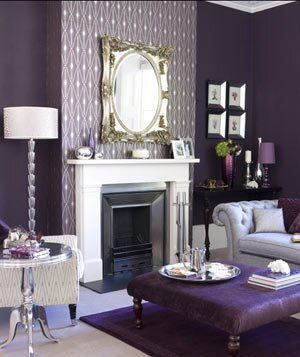 Dark Purple Living Room With White Mantle And Ornate Accessories