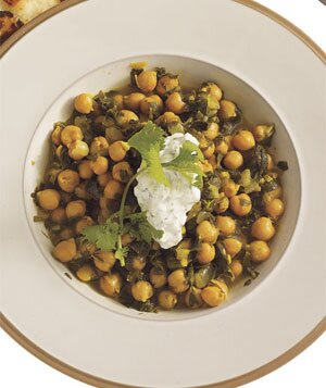 Easy indian recipes real simple chickpea spinach curry with cucumber yogurt sauce one of real simples easy indian forumfinder Image collections