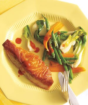 Four weeks of dinner menus real simple salmon with gingery green beans and bok choy forumfinder Images