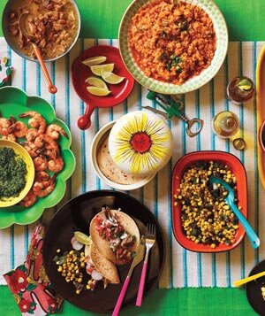 Mexican dinner party menu real simple taco party table spread forumfinder Choice Image