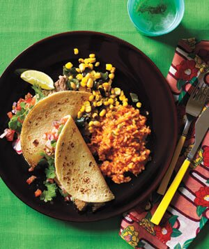 Mexican dinner party menu real simple shredded pork tacos with red rice and sauted corn forumfinder Choice Image
