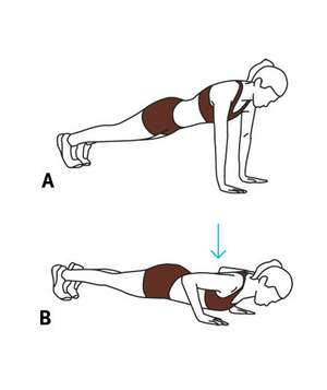 Illustration of a close-grip push-up