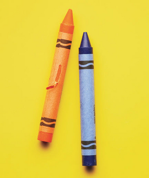 real simple office supplies. blue and orange crayons real simple office supplies