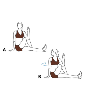 Illustration of a seated back twist