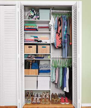 Bedroom closet organized with grid