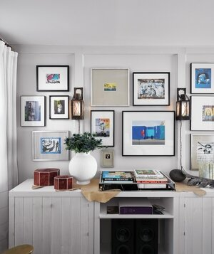 Wall with gallery style framed art