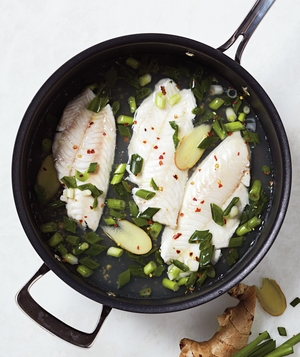 Poached Snapper With Scallion and Ginger Relish