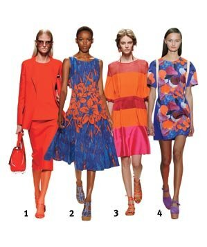 4 Models Wearing Shades Of Red Orange And Blue