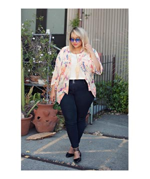 Floral kimono top and jeans