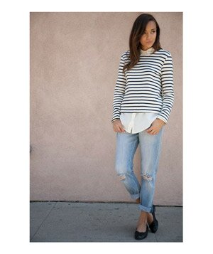 Striped sweater, jeans, and flats