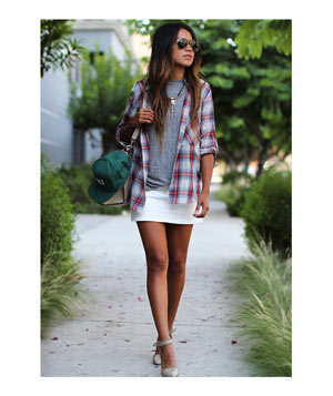 Plaid shirt with grey tee