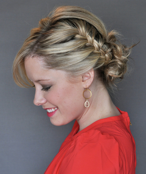 Finished Side French-Braid Updo by Kate Bryan