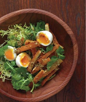 40 easy spring produce recipes real simple soft boiled eggs with warm croutons and greens forumfinder