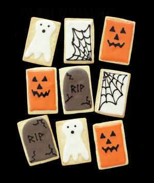 Jack O'Lantern, Tombstone, Spiderweb and Ghost Cookies