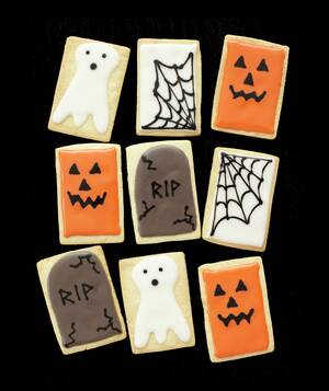 jack olantern tombstone spiderweb and ghost cookies