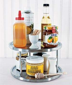 condiments on a lazy susan - Organizing Ideas For Kitchen