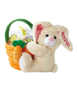 Creative easter baskets real simple plush easter bunny with basket negle Choice Image