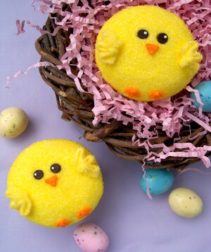 8 easy ideas for cute easter cupcakes real simple easter chick cupcakes from bird on a cake negle Images