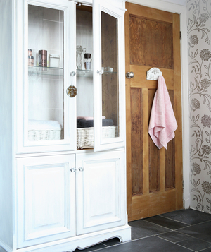 Bathroom with fancy display cabinet