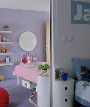 sliding door separating boys and girls bedrooms - Shared Bedroom Ideas