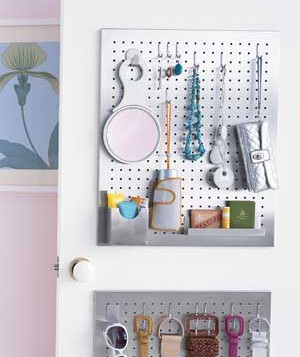 A simple pegboard can help store items if you have small space or lack of space in your home, apartment, or dorm