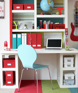 Kid's white, red, light blue work space