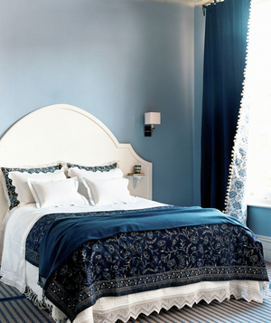 Blue and cream colored bedroom