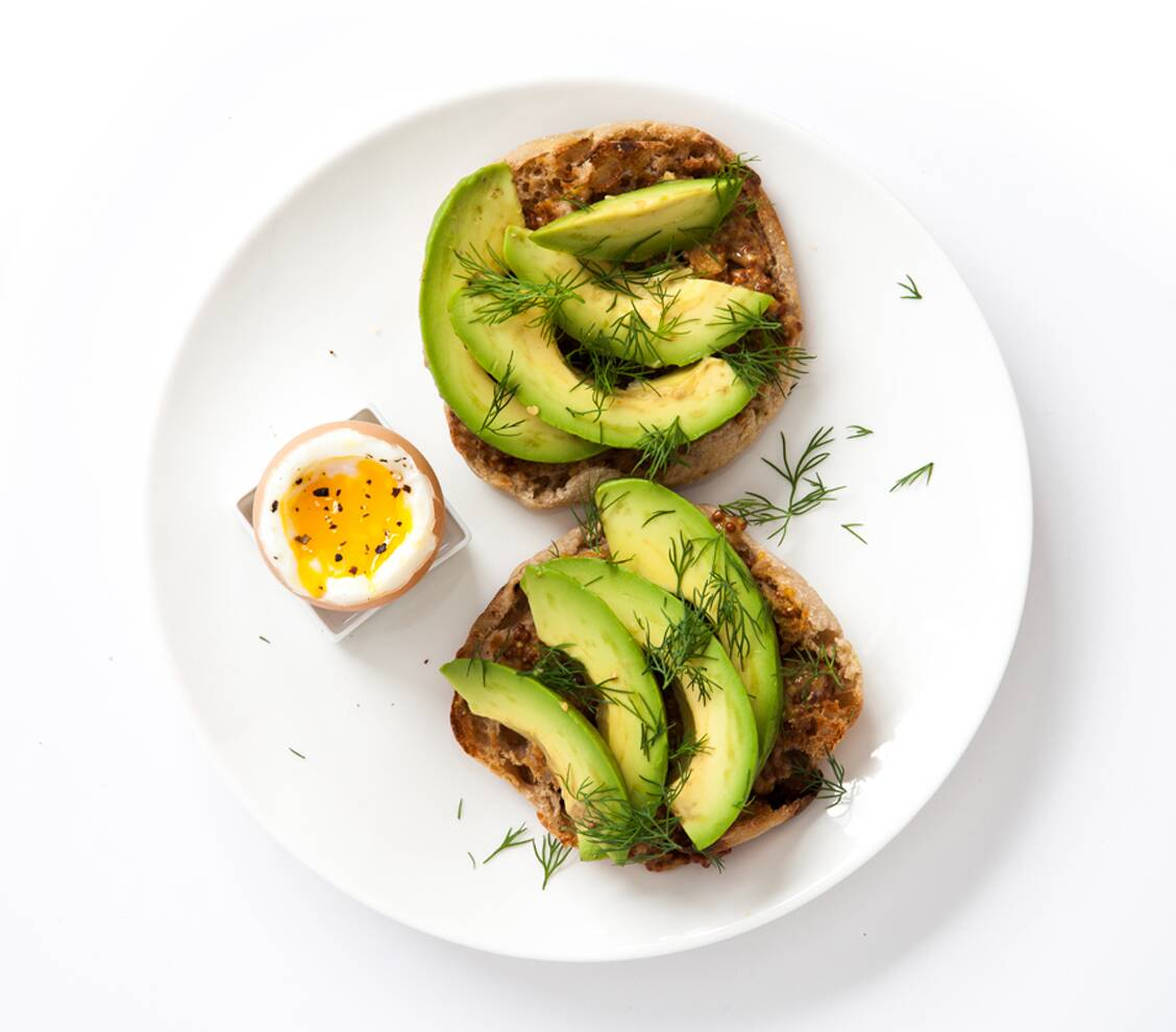 Mustard Avocado And Dill On A Whole Wheat English Muffin With Boiled Egg