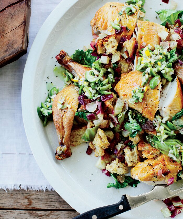 10 gourmet recipes and easy alternatives real simple ode to zuni roast chicken with fennel panzanella suzanne goin forumfinder Choice Image