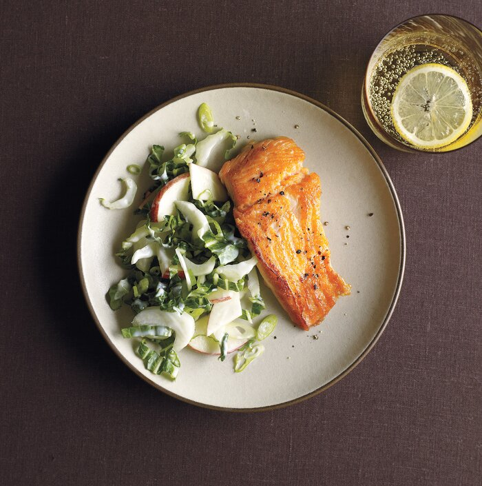 Best heart healthy recipes real simple salmon with bok choy and apple slaw forumfinder Image collections