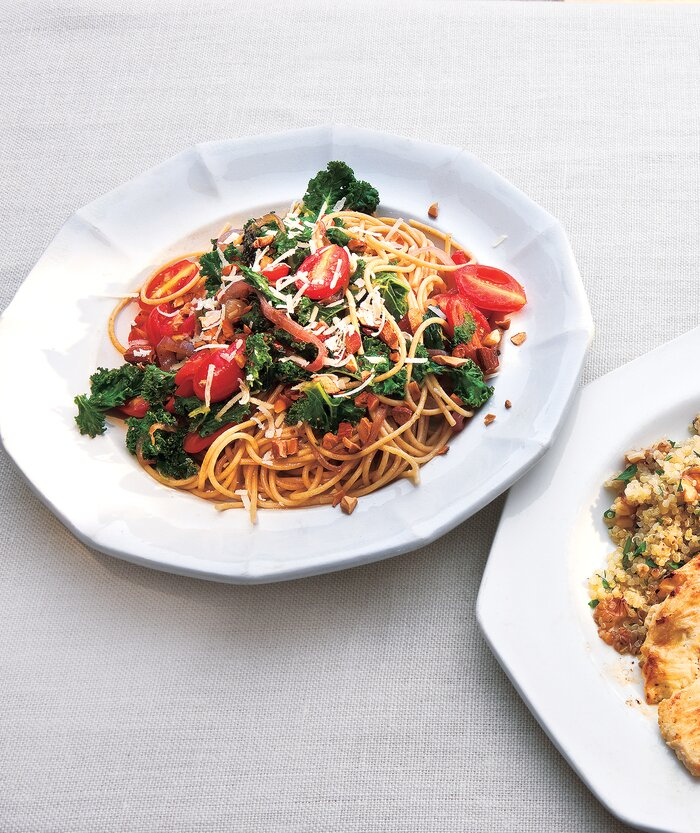 10 healthy kale recipes real simple whole grain spaghetti with garlicky kale and tomatoes forumfinder Gallery
