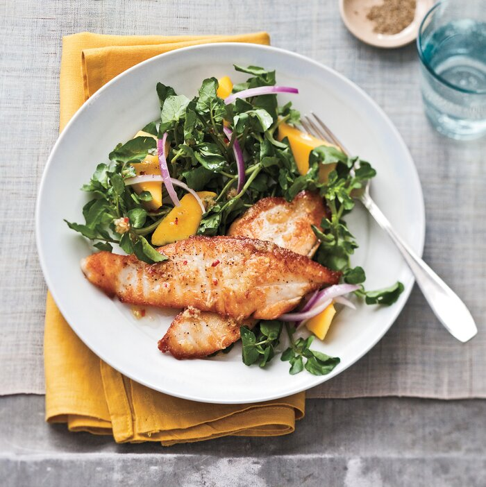 Easy healthy dinner recipes real simple seared tilapia with watercress and mango salad quentin bacon thanks to these easy healthy dinner recipes forumfinder Image collections