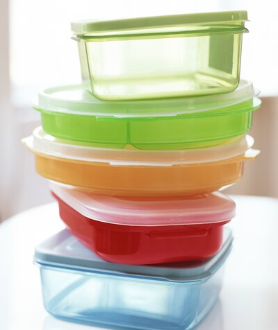 Stack of colorful Tupperware containers