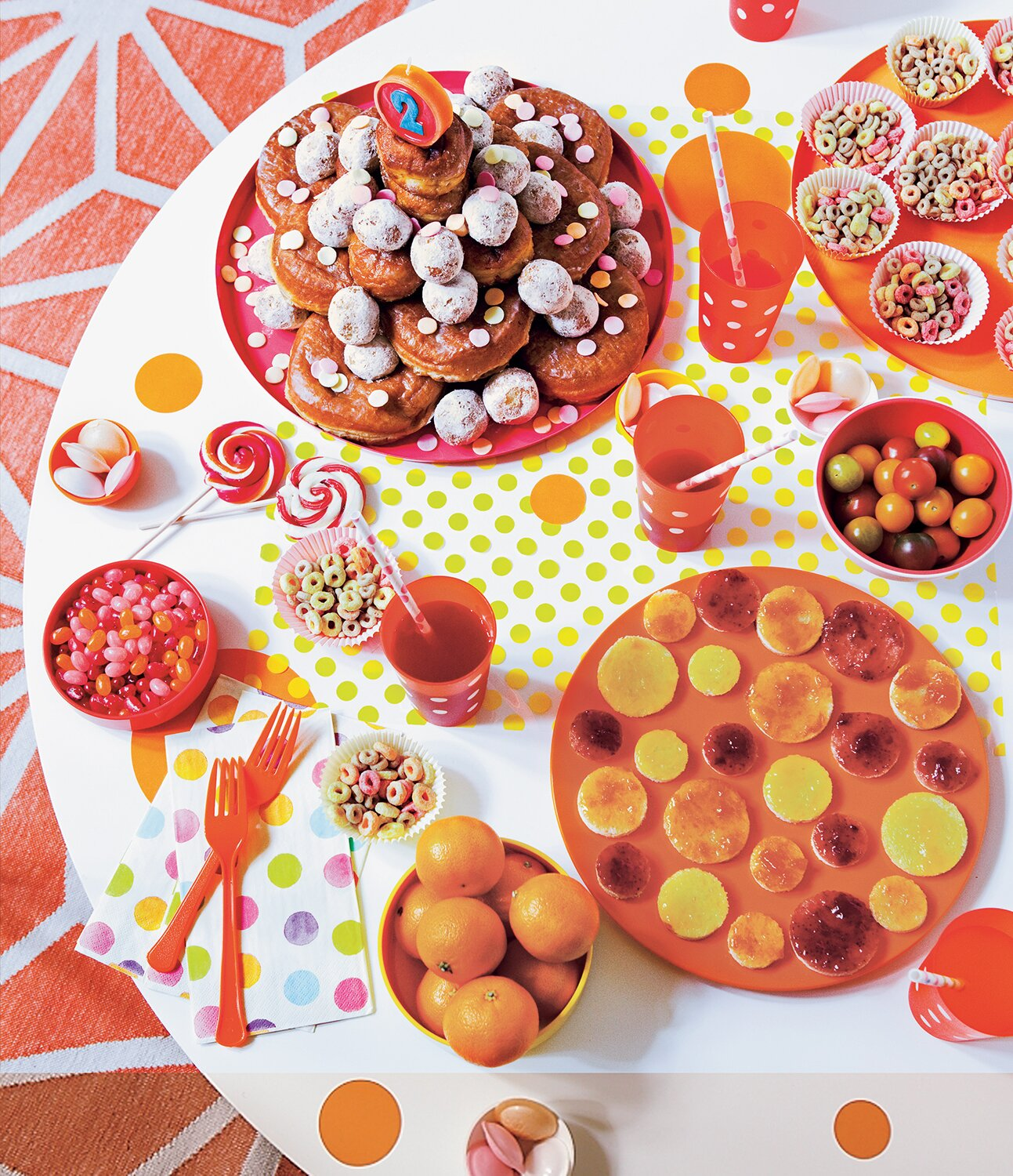Childrens Party Spread With Circle Foods And Treats