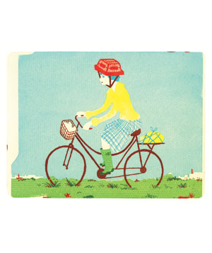 Illustration of girl on a bicycle with a shopping basket on her head